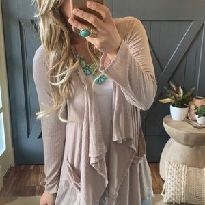 Pocketed cardigan sweater top taupe color